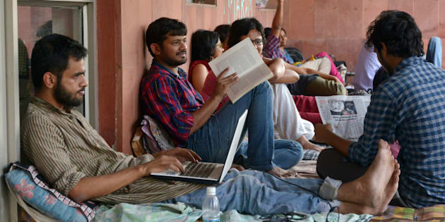 NEW DELHI, INDIA APRIL 28: JNU Students' Union President Kanhaiya Kumar, Umar Khalid along with other students started indefinite hunger strike against punishments at administration block in New Delhi.(Photo by K Asif/India Today Group/Getty Images)