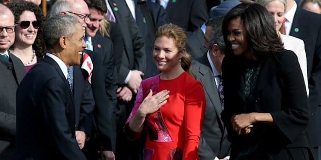 WASHINGTON, DC - MARCH 10:  U.S. President Barack Obama and first lady Michelle Obama welcome Canadian Prime Minister Justin Trudeau (not pictured) and his wife Sophie Gregoire Trudeau (C) during an arrival ceremony on the South Lawn of the White House, March 10, 2016 in Washington, DC. This is Trudeau's first trip to Washington since becoming Prime Minister.  (Photo by Mark Wilson/Getty Images)