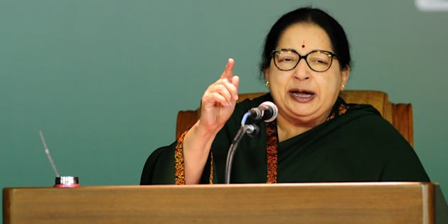 Jayaram Jayalalitha, leader of the Anna Dravida Munnetra Kazhagam (AIADMK) state political party, addresses a campaign rally in Chennai on April 9, 2016.