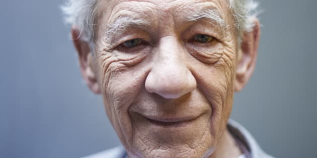 British actor Ian McKellen poses for a portrait during an interview with AFP in central London on April 22, 2016
