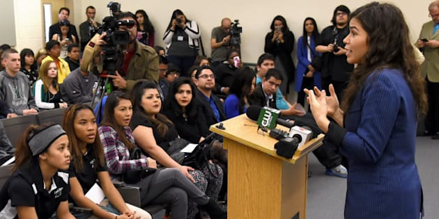 NORTH LAS VEGAS, NV - FEBRUARY 11:  Actress America Ferrera talks to students at Rancho High School as she partners with Voto Latino to discuss the importance of young voters, including Latinos, participating in the civic process on February 11, 2016 in North Las Vegas, Nevada. Nevada's caucus for the Democratic presidential candidate is on February 20 and the Republicans caucus on February 23.  (Photo by Ethan Miller/Getty Images)