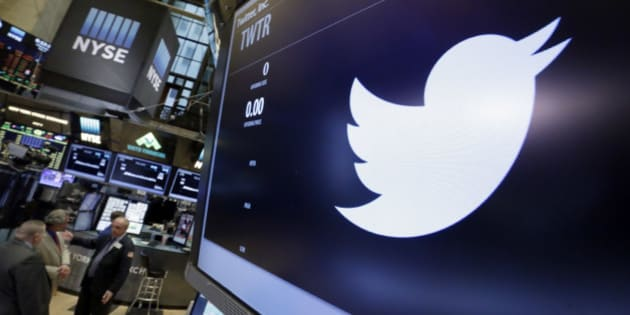 """The symbol for Twitter appears above its trading post on the floor of the New York Stock Exchange, Wednesday, May 4, 2016. U.S. Sen. Elizabeth Warren has taken to Twitter to attack what she calls presumptive Republican presidential nominee Donald Trump's """"toxic stew of hatred & insecurity."""" (AP Photo/Richard Drew)"""