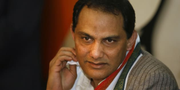 Former Indian cricket captain Mohammed Azharuddin speaks to the media after announcing his decision to join politics in New Delhi, India, Thursday, Feb.19, 2009. Azharuddin joined India's ruling Congress party Thursday. (AP Photo/Manish Swarup)