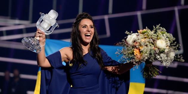 Ukraine's Jamala reacts on winning the Eurovision Song Contest final at the Ericsson Globe Arena in Stockholm, Sweden, May 14, 2016. TT News Agency/Maja Suslin/via REUTERS/File Photo  ATTENTION EDITORS - THIS IMAGE WAS PROVIDED BY A THIRD PARTY. FOR EDITORIAL USE ONLY. SWEDEN OUT. NO COMMERCIAL OR EDITORIAL SALES IN SWEDEN.