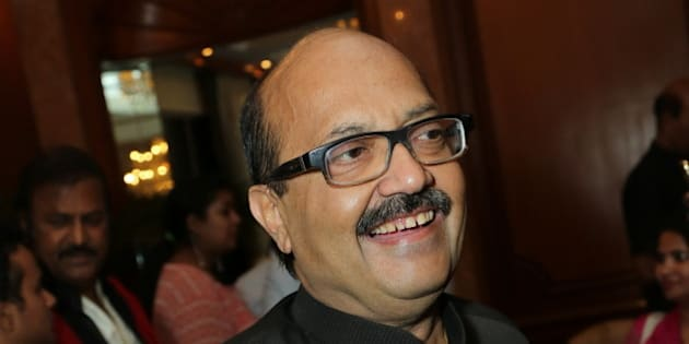 NEW DELHI, INDIA - APRIL 12: Politician Amar Singh during a dinner party hosted by politician T Subbarami Reddy to felicitate internationally renowned actor Priyanka Chopra who was recently honoured with the Padma Shri, on April 12, 2016 in New Delhi, India. On the occasion, Reddy said, She is one of the finest actors of the film industry right now. I want to congratulate her on her achievements and I feel very proud that I am getting this opportunity to felicitate her. (Photo by Raajessh Kashyap/Hindustan Times via Getty Images)