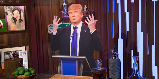 WATCH WHAT HAPPENS LIVE -- Pictured: cardboard Donald Trump -- (Photo by: Charles Sykes/Bravo/NBCU Photo Bank via Getty Images)