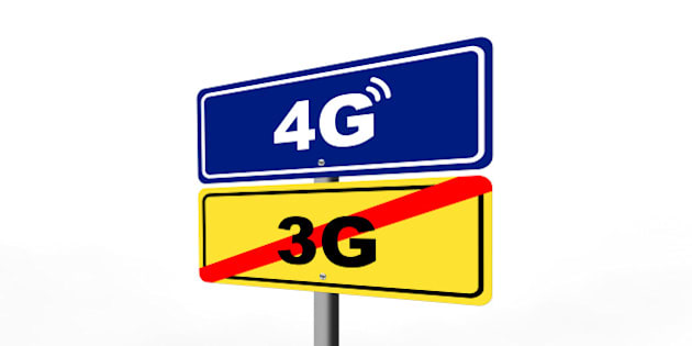 end of 3g mobile internet area, starting 4g mobile internet are shown with road signs