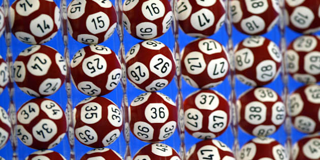 Balls are seen during a rehearsal for the new Euro-million loto draw at Boulogne-Billancourt near Paris February 13, 2004. The Euro-million loto will be played simultaneously in [England, Spain] and France with a weekly French draw with a possible jackpot of over 30 million euros (35 million dollars).