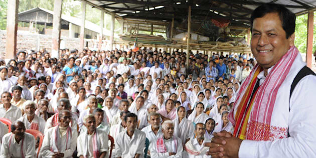 MAJULI, ASSAM - APRIL 1: Union Minister and BJP's Chief Ministerial candidate in Assam Sarbananda Sonowal addressing an election campaign at Mishing village on April 1, 2016 in Majuli, India. The legislative assembly election will be held in two phases on April 4 and 11 2016 to elect members of the 126 constituencies in Assam. (Photo by Subhendu Ghosh/Hindustan Times via Getty Images)
