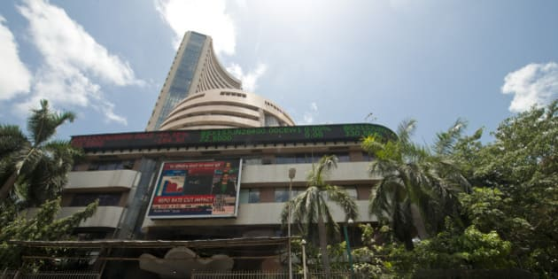 MUMBAI, INDIA  JUNE 2: A view of Bombay Stock Exchange, which recorded sensex falls to near three-month lows on global risk-off on June 2, 2015 in Mumbai, India. (Photo by Aniruddha Chowdhury/Mint via Getty Images)