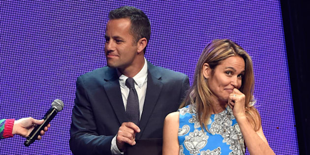 NASHVILLE, TN - MAY 31:  Host Kirk Cameron and wife actress Chelsea Noble speak onstage during the 3rd Annual KLOVE Fan Awards at the Grand Ole Opry House on May 31, 2015 in Nashville, Tennessee.  (Photo by Rick Diamond/Getty Images for KLOVE)