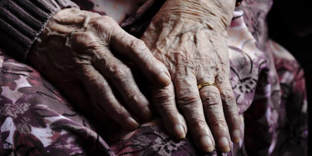 old hands of lady in care home