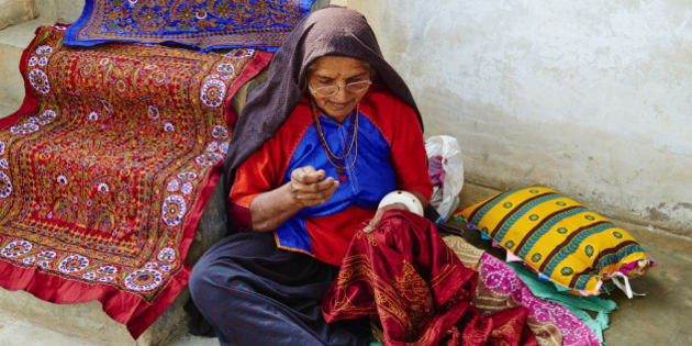 India, Gujarat, Kutch, Dhrang village, Ahir ethnic group, embroidery