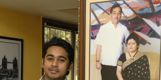 INDIA - JANUARY 05:  Nilesh Rane, one of the directors of Marathi daily ?Prahar?and son of Narayan Rane at his office in Mumbai, Maharashtra, India (Maharashtra Revenue Minister Narayan Rane)  (Photo by Mandar Deodhar/The India Today Group/Getty Images)