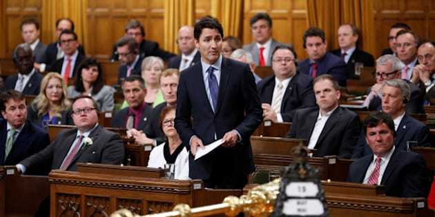 Canada's Prime Minister Justin Trudeau delivers an apology in the House of Commons on Parliament Hill in Ottawa, Ontario, Canada, May 19, 2016 following a physical altercation the previous day. REUTERS/Chris Wattie