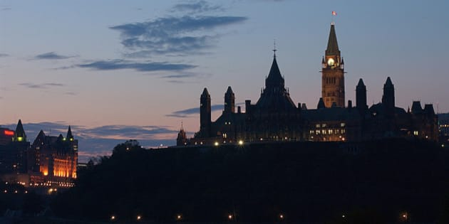 Parliament building clock tower in Ottawa , Ontario , Canada