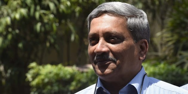 NEW DELHI, INDIA - APRIL 25: Union Defence Minister Manohar Parrikar after attending the first day of the second half of the budget session at the Parliament House, on April 25, 2016 in New Delhi, India. Rajya Sabha adjourned till Tuesday after uproar by the opposition over the Uttarakhand issue. Opposition raised slogans of 'Loktantra ki hatya bandh karo' (Stop the murder of democracy) in the House. The issue of imposition of President's rule in Uttarakhand today echoed in Parliament with Congress members in both Houses storming the Well and party leader Mallikarjun Kharge staging a dharna in the Lok Sabha. (Photo by Sonu Mehta/Hindustan Times via Getty Images)