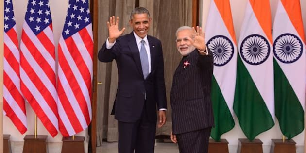 NEW DELHI, INDIA  JANUARY 25:  Prime Minister Narendra Modi and U.S. President Barack Obama gathers, before a meeting at Hyderabad House on January 25, 2015 in New Delhi, India. (Photo by Pradeep Gaur/Mint via Getty Images)