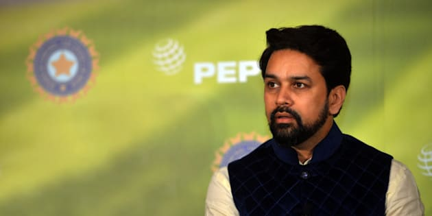 DELHI, INDIA MARCH 03: BCCI Secretary Anurag Thakur during a press conference in New Delhi.(Photo by Qamar Sibtain/India Today Group/Getty Images)