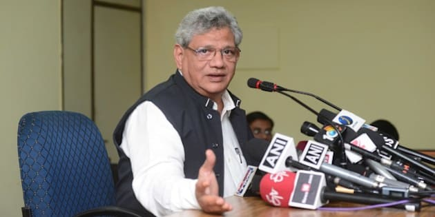 NEW DELHI, INDIA - NOVEMBER 17: Sitaram Yechury, General Secretary of the Communist Party of India, addressing the media on November 17, 2015 in New Delhi, India. (Photo by Ramesh Pathania/Mint via Getty Images)