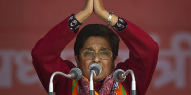 India's ruling Bharatiya Janata Party (BJP) chief ministerial candidate Kiran Bedi gestures during an election campaign rally ahead of Delhi state election in New Delhi, India, Wednesday, Feb. 4, 2015. Delhi goes to the polls on Feb. 7. (AP Photo/Saurabh Das)
