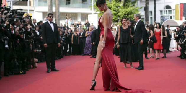 Model Bella Hadid poses for photographers upon arrival at the screening of the film La Fille Inconnue (The Unkown Girl) at the 69th international film festival, Cannes, southern France, Wednesday, May 18, 2016. (AP Photo/Thibault Camus)