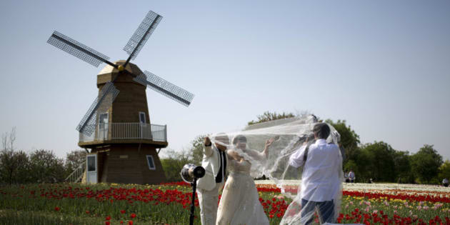 A newly wed couple poses for wedding photos on the filed of tulips near a replica Dutch windmill at Shunyi International Flowers Port in Beijing, China Monday, April 28, 2014. (AP Photo/Andy Wong)