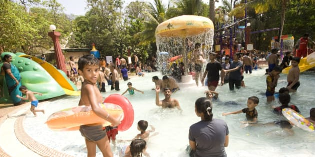 Crowds at Water Kingdom part of Essel world amusement park in Gorai, Mumbai, Water Kingdom is said to be Asias largest theme water park. (Photo by: PYMCA/UIG via Getty Images)