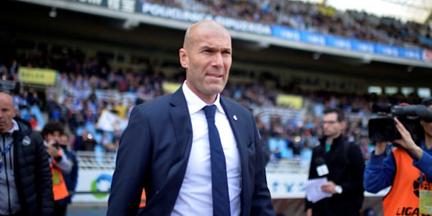 Football Soccer - Spanish Liga BBVA- Real Sociedad v Real Madrid - Anoeta, San Sebastian, Spain 30/4/16 Real Madrid coach Zinedine Zidane arrives for a match against Real Sociedad REUTERS/Vincent West