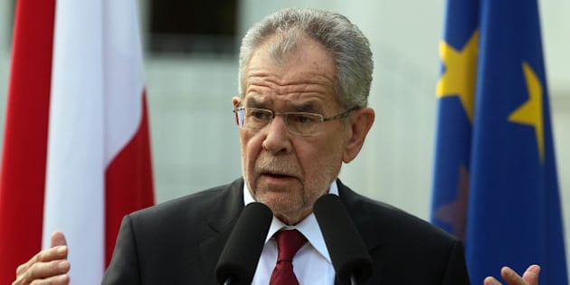 Alexander Van der Bellen winner of Austria's presidential election speaks to  the press in Vienna, Austria, Monday, May 23, 2016.  Left-leaning candidate Alexander Van der Bellen won the election to become Austrian president Monday, but his right-wing rival was only narrowly behind, a result that reflects the growing strength of Europe's anti-EU political movements.  (AP Photo/Ronald Zak)