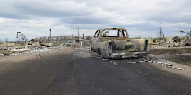 FORT MCMURRAY, AB - MAY 9:  Wildfire devastation as shown from a media tour.        (Katie Daubs/Toronto Star via Getty Images)