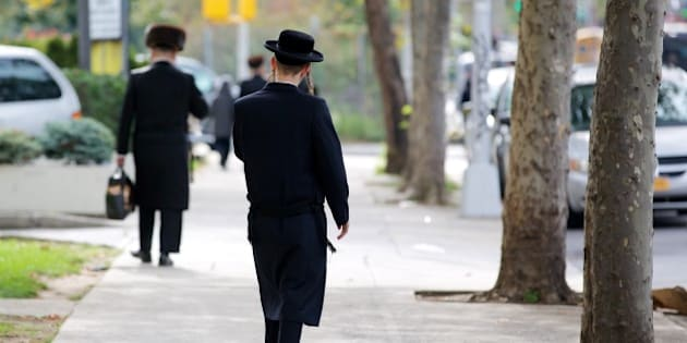 Picture of a young Hasid Jewish boy in Williamsburg, New York city.