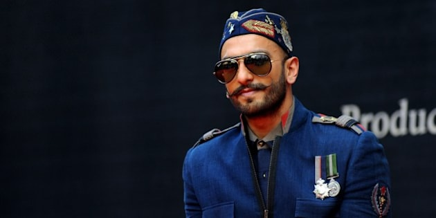 Indian Bollywood actor Ranveer Singh poses during the poster launch of the upcoming Hindi film 'Bajirao Mastani' in Mumbai on November 4, 2015.   AFP PHOTO        (Photo credit should read STR/AFP/Getty Images)