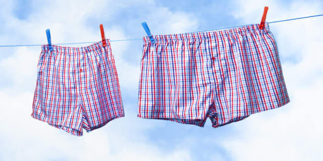Small and obese boxer shorts on washing line.