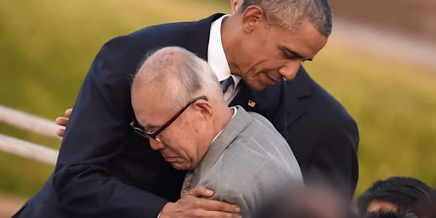 HIROSHIMA, JAPAN - MAY 27:  U.S. President Barack Obama embraces an a-bomb victim at the Hiroshima Peace Memorial Park on May 27, 2016 in Hiroshima, Japan. It is the first time U.S. President makes an official visit to Hiroshima, the site where the atomic bomb was dropped in the end of World War II on August 6, 1945.  (Photo by Atsushi Tomura/Getty Images)