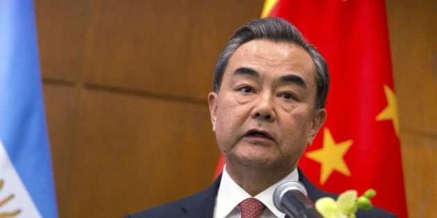 China's Foreign Minister Wang Yi speaks at a joint press conference with Argentina's Foreign Minister Susana Malcorra in Beijing, Thursday, May 19, 2016. (AP Photo/Mark Schiefelbein)