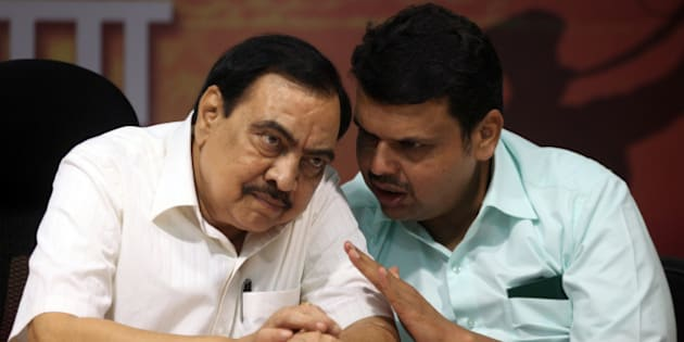 MUMBAI, INDIA - SEPTEMBER 25: BJP leaders Eknath Khadse and Devendra Fadnavis during a press conference on September 25, 2014 in Mumbai, India. The BJP ended its 25-year-old alliance with the Shiv Sena and decided to contest the upcoming Maharashtra Assembly elections with smaller allied parties. (Photo by Kunal Patil/Hindustan Times via Getty Images)