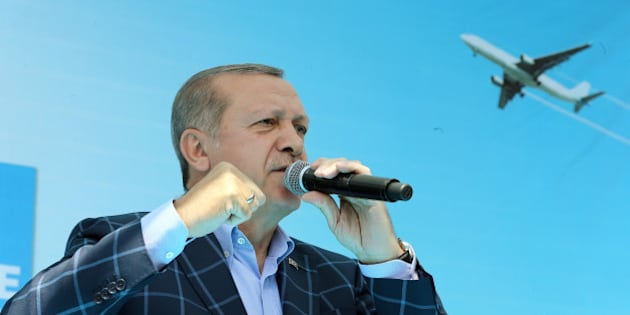 Turkish President Tayyip Erdogan makes a speech during a ceremony at the airport in the Kurdish-dominated southeastern city of Diyarbakir, Turkey, May 28, 2016. Kayhan Ozer/Presidential Palace/Handout via REUTERS ATTENTION EDITORS - THIS PICTURE WAS PROVIDED BY A THIRD PARTY. FOR EDITORIAL USE ONLY. NO RESALES. NO ARCHIVE.