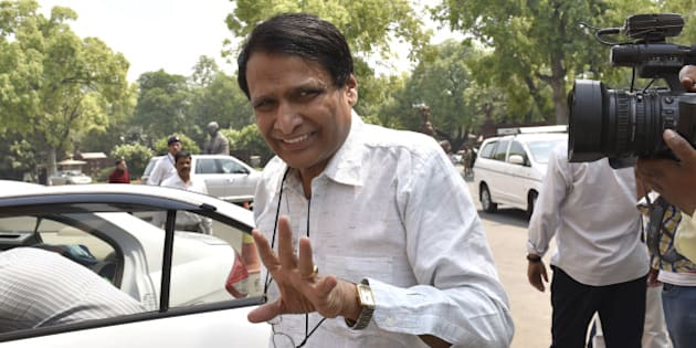 NEW DELHI, INDIA - APRIL 29: Union Minister for Railways Suresh Prabhu at Parliament House on April 29, 2016 in New Delhi, India. (Photo by Arvind Yadav/Hindustan Times via Getty Images)