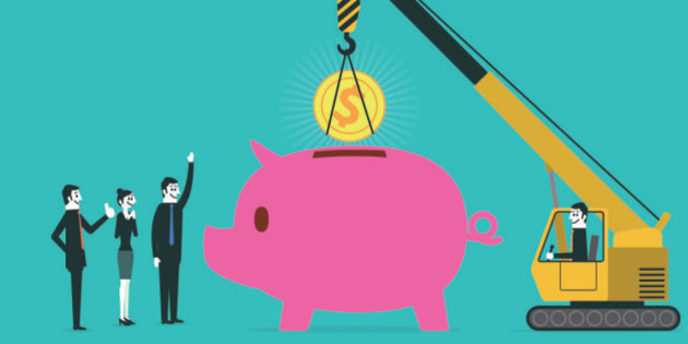 Crane put in coins to piggy bank.