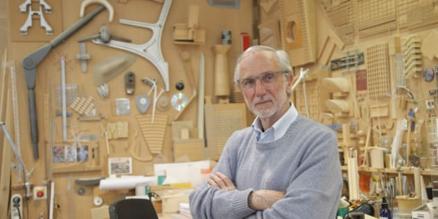 Italian architect Renzo Piano poses at his workshop in Paris, France, Thursday, May 7, 2015. The Paris future Courthouse building in construction designed by Italian architect Renzo Piano is scheduled to be completed in 2017. (AP Photo/Francois Mori)