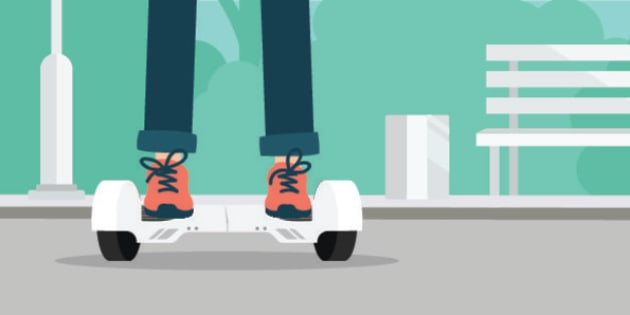 Girl or boy using hoverboard, a self-balancing two-wheeled board in public park. Vector flat illustration