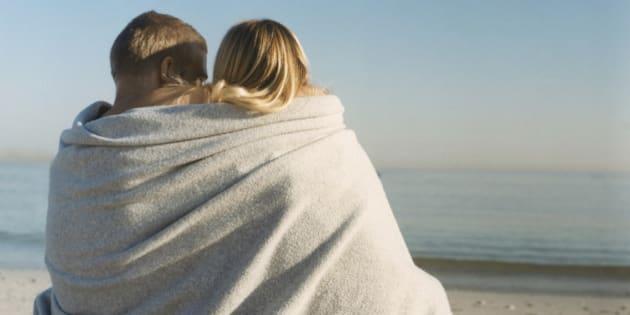 Beach Couple under Blanket