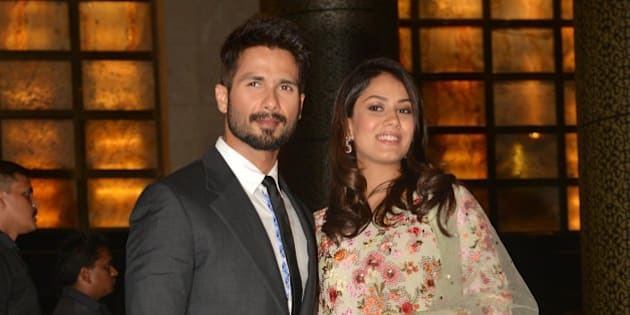 MUMBAI, INDIA MAY 13: Shahid Kapoor with his wife Mira Rajput at Preity Zinta and Gene Goodenoughs wedding reception ceremony at St. Regis Hotel in Mumbai.(Photo by Milind Shelte/India Today Group/Getty Images)