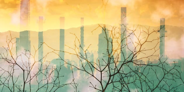 Industrial pollution nature disaster concept, double exposure.