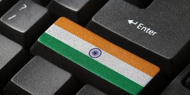 The Indian flag button on the keyboard. close-up