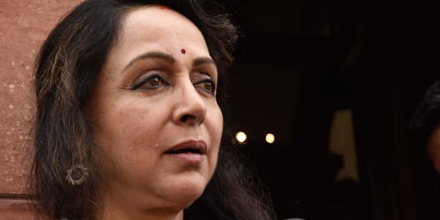 NEW DELHI, INDIA - MARCH 8: BJP MP Hema Malini at Parliament during the Budget Session on March 8, 2016 in New Delhi, India. After huge criticism, Finance Minister Arun Jaitley announced roll back of its Budget proposal of imposing a tax on Employees' Provident Fund withdrawals. (Photo by Mohd Zakir/Hindustan Times via Getty Images)