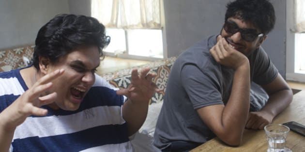MUMBAI, INDIA - JULY 14: Members of Indian comedy group All India Bakchod or AIB (L-R) Tanmay Bhat and Gursimran Khamba having chitchat during a profile shoot at Versova on July 14, 2015 in Mumbai, India. The group maintains a YouTube channel that shows their comedy sketches and parodies on topics such as politics, society, and the Hindi film industry, and much of their reputation was founded on their online presence. As of March 2015 the group has over 1.157 million subscribers on YouTube. (Photo by Satish Bate/Hindustan Times via Getty Images)