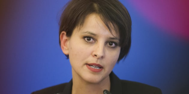 French Education Minister Najat Vallaud Belkacem talks, during a meeting, in Paris,  Thursday, Jan. 15, 2015.  Belkacem expressed deep concern about the failure of students in some schools to honor the minute of silence held last week after the attack at the Charlie Hebdo offices and the Jewish grocery. (AP Photo/Jacques Brinon)