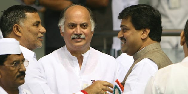 NEW DELHI, INDIA � NOVEMBER 2:  Maharashtra Chief Minister Ashok Chavan and Minister of State for IT, Gurudas Kamat during the Meeting of All India Congress Committee (AICC) members at Talkatora Stadium in New Delhi on November 2, 2010. (Photo by Naveen Jora/India Today Group/Getty Images)